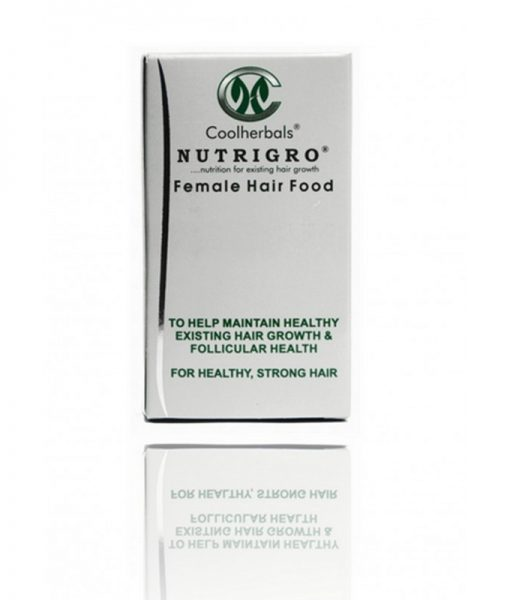 Nutrigro Female Hair Food contains the Nutrigro Complex® consisting of all the 22 amino acids, fatty acids, vitamins and minerals the hair needs.